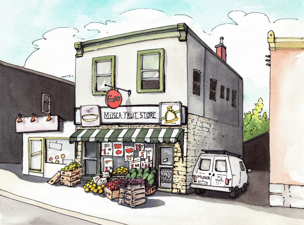 Memories of Musca Fruit Store, Ottawa. Watercolour.