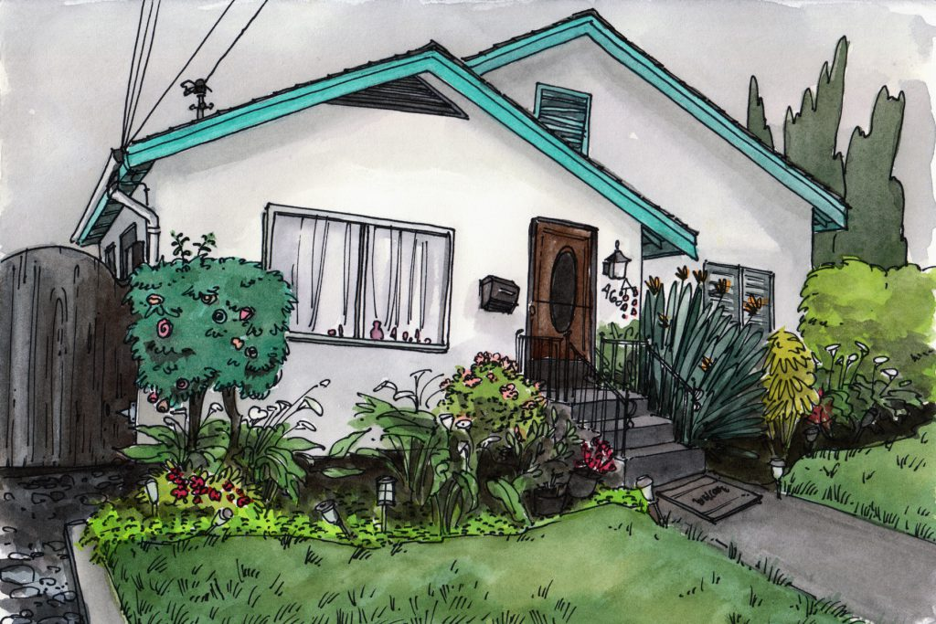 A house seen on a rainy day, California. Watercolour.