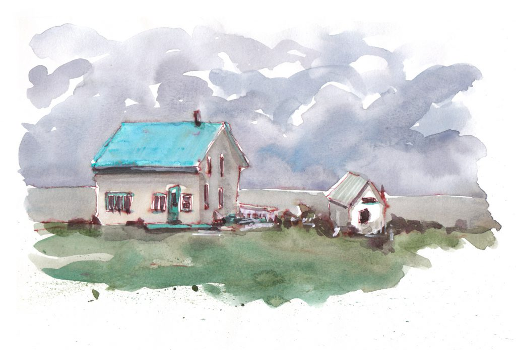 Gaspé roadside windswept house with tin roof. Pen and watercolour.