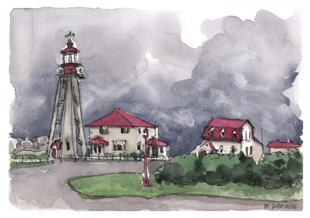 Pointe-au-Père lighthouse, Rimouski/Bas-Saint-Laurent region, in stormy weather. Watercolour.