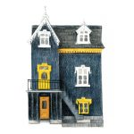 Grey and yellow triplex with victorian trim and dormers.