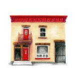 Portrait of a cream house with bright red trim.
