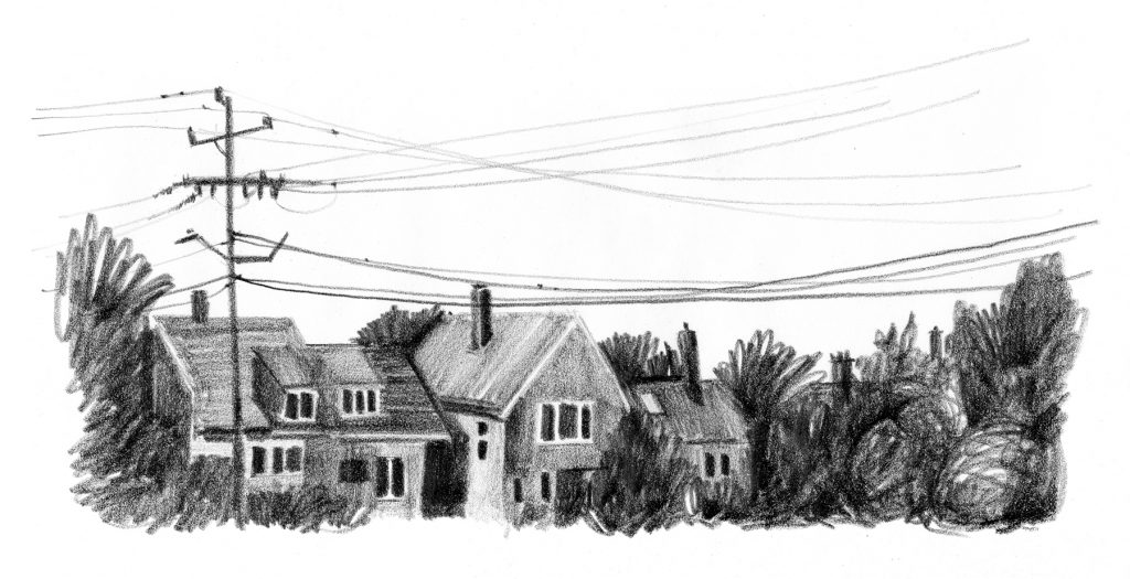 A minimal drawing with trees and housetops across the bottom, a variety of chimneys, wires in criss-crossing lines across the top whitespace of the sky.