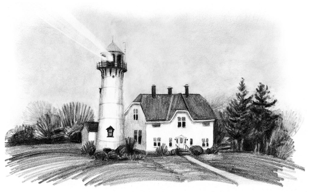 A black and white pencil drawing of a lighthouse in the fog, rich dark trees, a beam of light cutting through the sky.