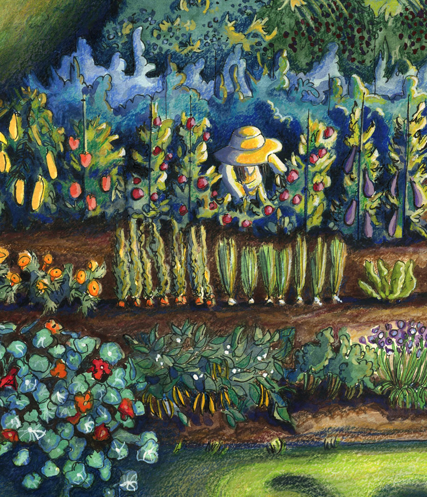 A woman working in a large vegetable garden in the late afternoon sun (section of finished artwork)
