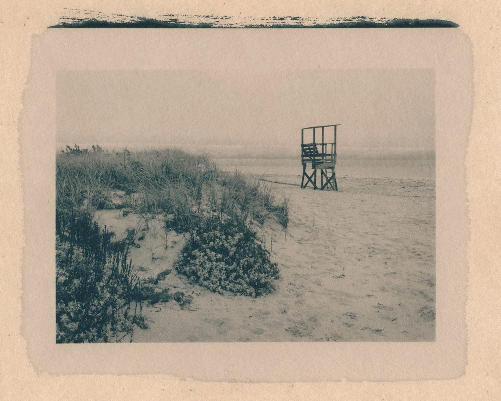 Remembering Cape Cod, toned cyanotype print – warm-toned with coffee and tea.