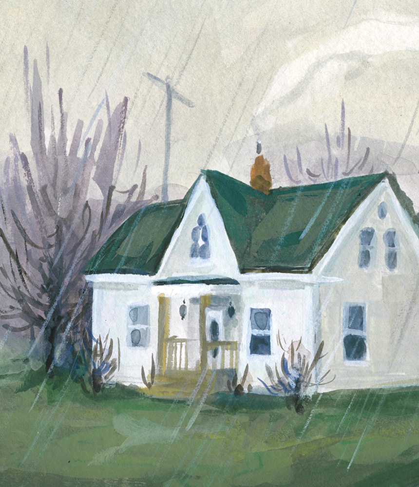 Portrait of our house and barn (section)