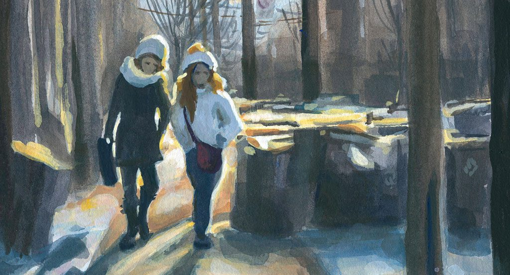 Section of a painting showing two girls walking down the street together, with glowing late-day sunlight