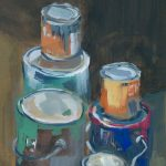 Preparing to move homes (paint cans), Montreal. Gouache on paper.
