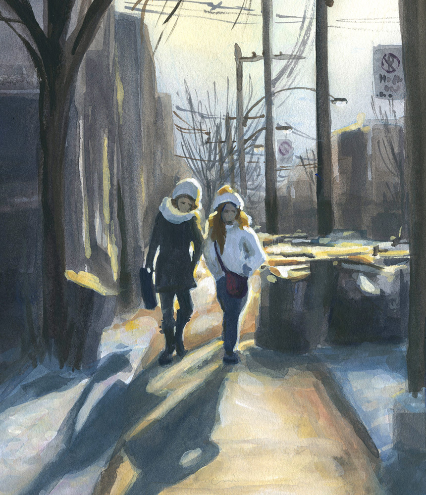 Two girls heading home at the end of the day, Mile End, Montreal (section)