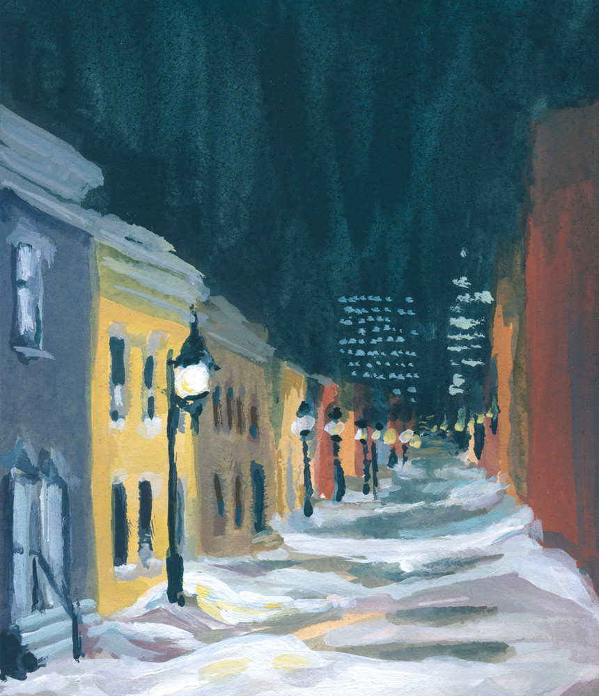 A hidden montreal street with colourful houses, at night, in the snow (section)